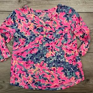 LILLY PULITZER size 4 to 5 button 3/4 sleeve shirt